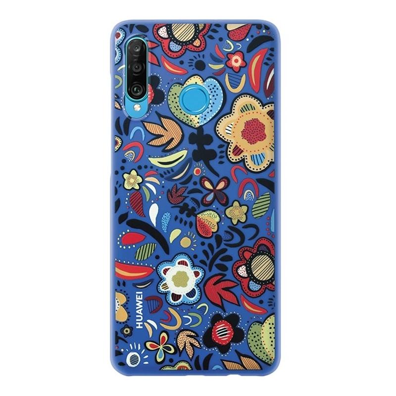 Huawei ochranný kryt Floral Blue pro P30 Lite modrý