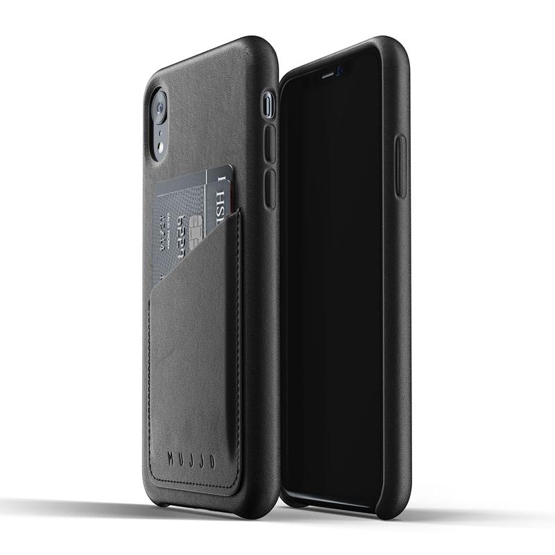 MUJJO kožené wallet pouzdro pro Apple iPhone Xr černé