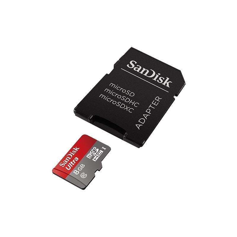 SanDisk micro SDHC karta 8GB class 10 s adaptérom