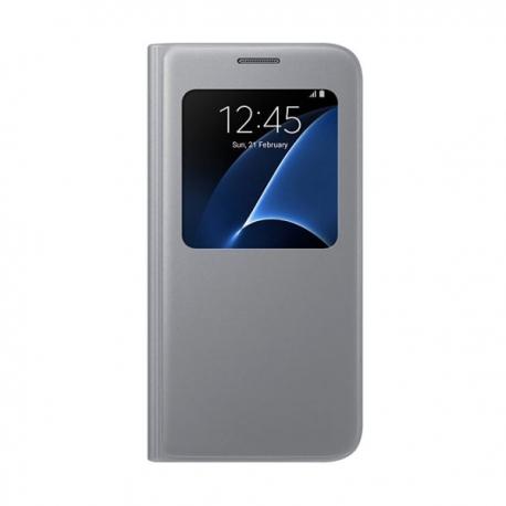 Samsung S-View Cover flipové puzdro s oknom na Galaxy S7 strieborné