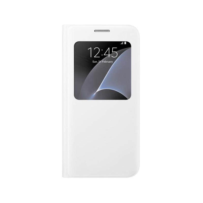 Samsung S-View Cover flipové puzdro s oknom na Galaxy S7 biele
