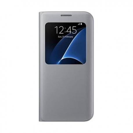 Samsung S-View Cover flipové pouzdro s oknem na Galaxy S7 Edge stříbrné