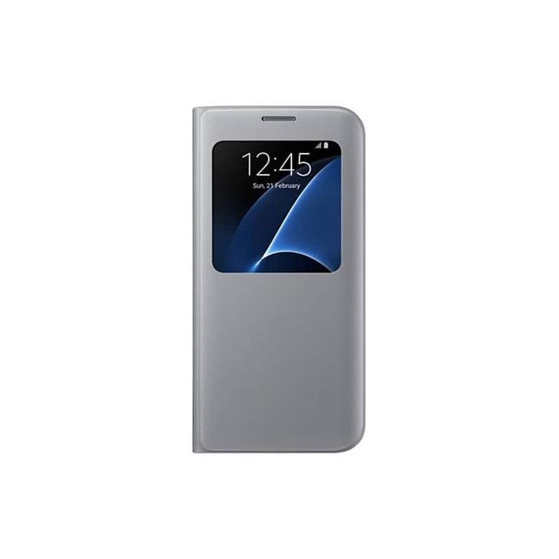 Samsung S-View Cover flipové puzdro s oknom na Galaxy S7 Edge strieborné