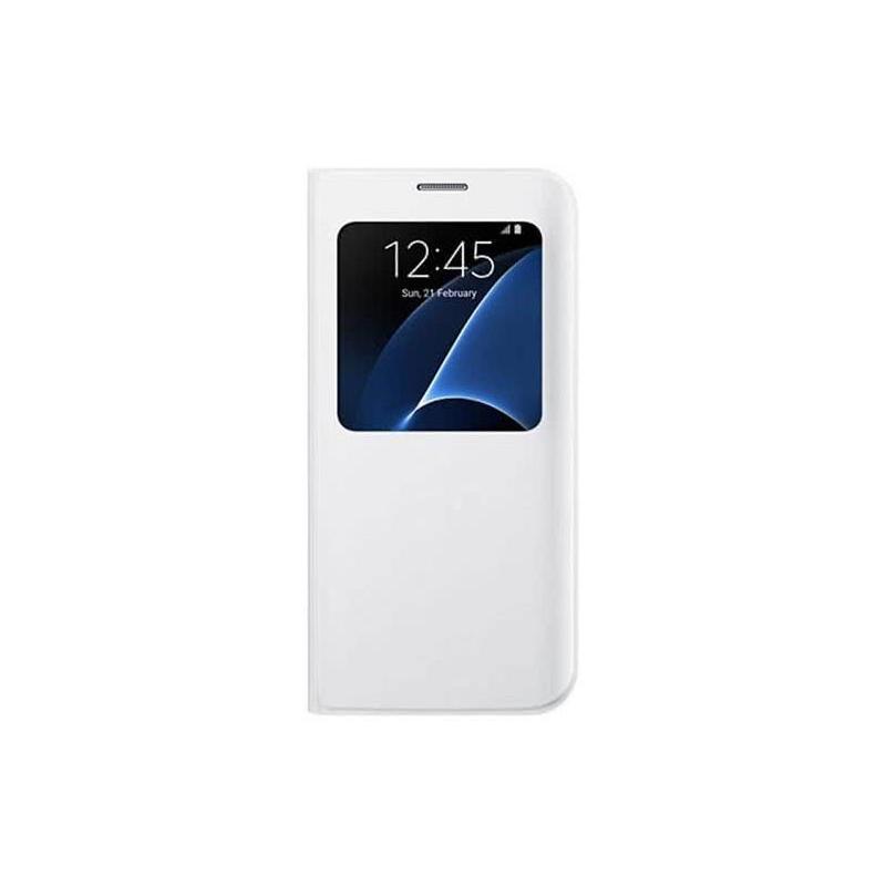 Samsung S-View Cover flipové puzdro s oknom na Galaxy S7 Edge biele