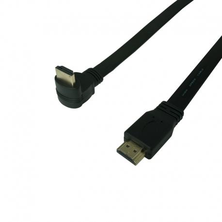 HDMI plochý kabel s přímým a zahnutým konektorem (dole) 3m