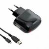 UNI sieťová nabíjčka USB 1A s micro USB s káblom čierna